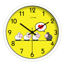 Yellow Sheep Living Room Quiet Quartz Wall Clock Home Decoration Bedroom Fashion Creative Wall Clocks(China)