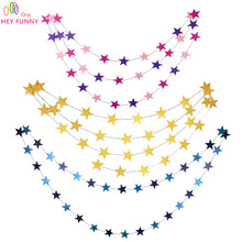 HEY FUNNY Wall Hanging Paper Star Garlands 4m Long Birthday String Chain Wedding Party Banner Handmade Children Room Home Decor