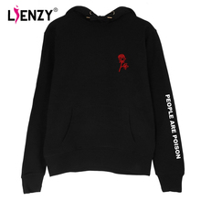 LIENZY Autumn Women Sweatshirt People Are Poison N Rose Hoodies Long Sleeve Hooded Black Hip Hops Sweatshirt For Autumn 3XL