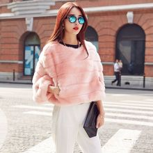 Faux Fur coat female Tendency Batwing Sleeve Outwear Coats Genuine Faux Fur Pullover Women's Clothes(China)