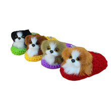 Hot Kids Lovely Simulation Press Sounding Shoes Puppy Dogs Stuffed Plush Doll Toys Children Appease Christmas Decoration Gifts