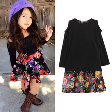 2PCS Toddler Kids Baby Girls Cotton Long Sleeve Outfits Clothes T Shirt Tops Short Dress Skirt European Style Clothing Set