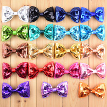 19pcs/lot 19color U Pick 8.5cm Embroidered Sequin Bows Glitter Boutique Hair Bow Knot  DIY Girls Garment Accessories HDJ29