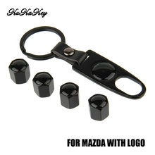 For Mazda Car Tire Valve Caps Wheel Tyre Dust Cap For Mazda 3 6 CX5 CX7 323 626 Familia Speed accessories Car Badge Keychain
