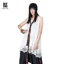 Outline Summer Women Tank Dress White Lace Medium-long O-neck Silk Cotton Loose Sleeveless A-line Plus Size Casual DressL142Y022