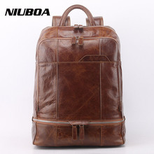 NIUBOA Genuine Leather Backpack Men High Quality Leather Travel Backpacks Boy Vintage Big Capacity School Shoulder Bag Rucksack