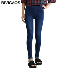 BIVIGAOS 2017 New Slim Skinny Women Jeans Femme Mill Elastic Denim Jeans Womens Pencil Pants Jeans Leggings Trousers Black Blue(China)