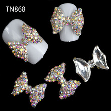 Blueness 10Pcs Colorful Glitter 3D Bows Nail Art Decorations Rhinestones, Alloy Nail Charms For Nail Tool Suppliers TN868(China)