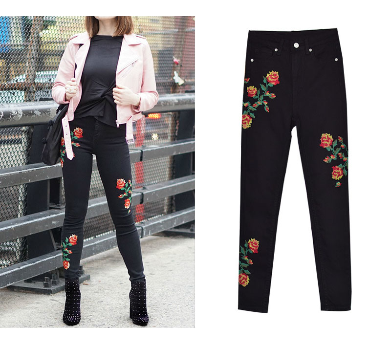 2017 European and American women hot high waist Slim stretch front and rear side cross embroidery roses cowboy pants pants pants (7)