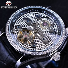 Forsining 2017 Tourbillion Diamond Design Genuine Leather Strap Waterproof Crystal Head Mens Automatic Watches Top Brand Luxury