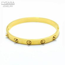 2016 Wholesale Spikes Bracelet Pulseiras Noeud armband Punk Gold Bangle Bracelet For Women Nail Cuff Bracelets Manchette Bangles(China)