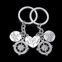 2PC No Matter Where Heart Best Friends BFF Compass Pendant Keyrings Friend Gifts Friendship Key Chains For Women Men Jewelry