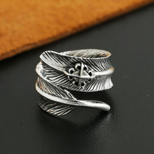 Cross Star eagle feather ring opening 925 sterling silver 925 jewelry for women men wedding ring fine vintage jewelry  GY111