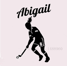 E552 Wall Stickers Home decor DIY poster Decal mural Vinyl Wall Decal Decoration Field Hockey Player Wall Custom Girl Name