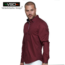 VSD Top Sale Italian Men Shirts High Quality Style Three Breasted Male Shirt Long Sleeve Men Euro Homme Camiseta Masculina V1126(China)