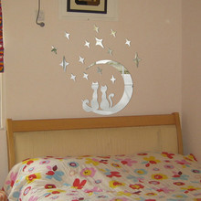 High quality DIY Moon Cat Modern Plastic Mirror Sticker Ar-hall Bedroom acrylic mirrored decorative sticker drop shipping(China)