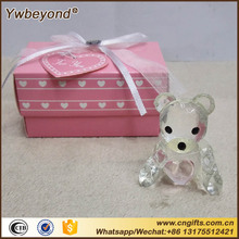 100pcs/lot Ywbeyond crystal Christening gifts Baby shower souvenirs favors pink/blue Crystal Teddy Bear Favors figurine