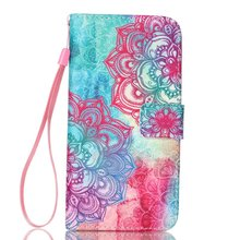 Colorful Printing PU Leather Wallet Purse Book Flip Cover Case for LG K8 Stand Phone Case With Carry Strap 30PCS/LOT