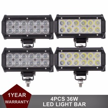 "4pcs 7"" 36W LED Work Light Lamp Car SUV Motorcycle Tractor Boat OffRoad 4WD 4x4 Bicycle Trailer RZR Auto Wagon Headlight 12V 24V"