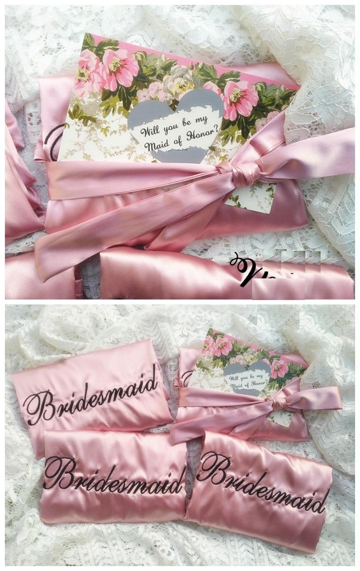 Embroidery Logo Satin Bridesmaid Robes Silk Robe Kimono Hen ...