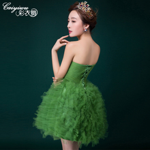2016 Cheap green Lace ruffled Cocktail Dresses Sexy sheer back informal Short cocktail gowns Vestido De Festa