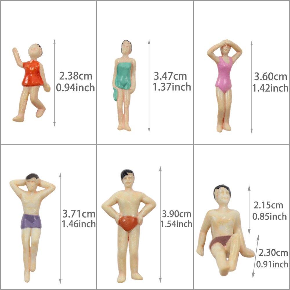 NWFashion 50pcs Scale Painted Model 1:50 Beach Swimsuits People Figures 50PCS 36MM