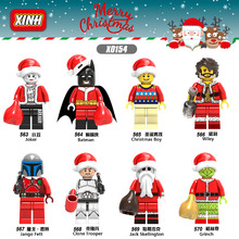 X0154 Christmas Boy Figure Jack Skellington Wiley Grinch Joker Batman Jango Fett Clone Trooper Building Blocks Toy(China)