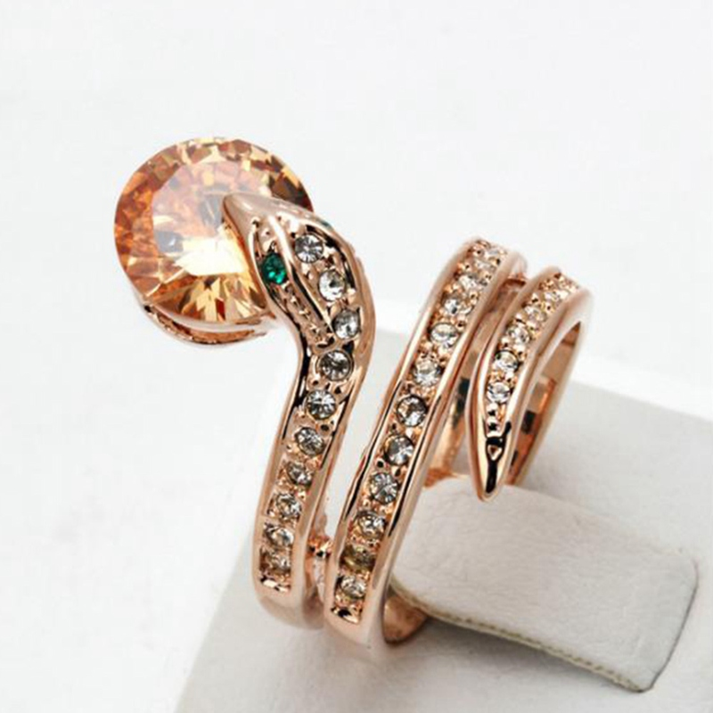 High Quality Snake Show Bead Ring Rose Gold Color Austrian Orange Crystals Full Sizes Wholesale