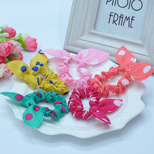 TS 20pcs Cute bunny girl flower hair clip headbands ears dot chiffon headwear wild elastic hair band hair rope ornaments