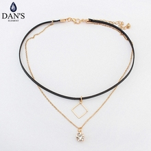 DAN'S New Fashion Retro Geometric star Pendant Collar Double chains leather simple choker necklace gift for women girl 122772(China)