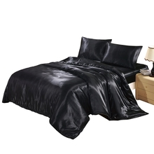 Solid Color Satin Faux Silk Bedding Set Black Duvet Cover Set Silky Bed Cover US Twin Queen King UK Single Double King 2/3/4PCS(China)