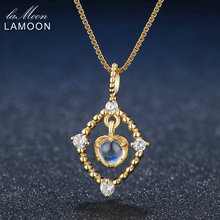 LAMOON 4mm Natural Ligth Blue Moonstone 925 Sterling Silver Pendant Necklace Jewelry 14K Yellow Gold Plated Fashion Necklaces