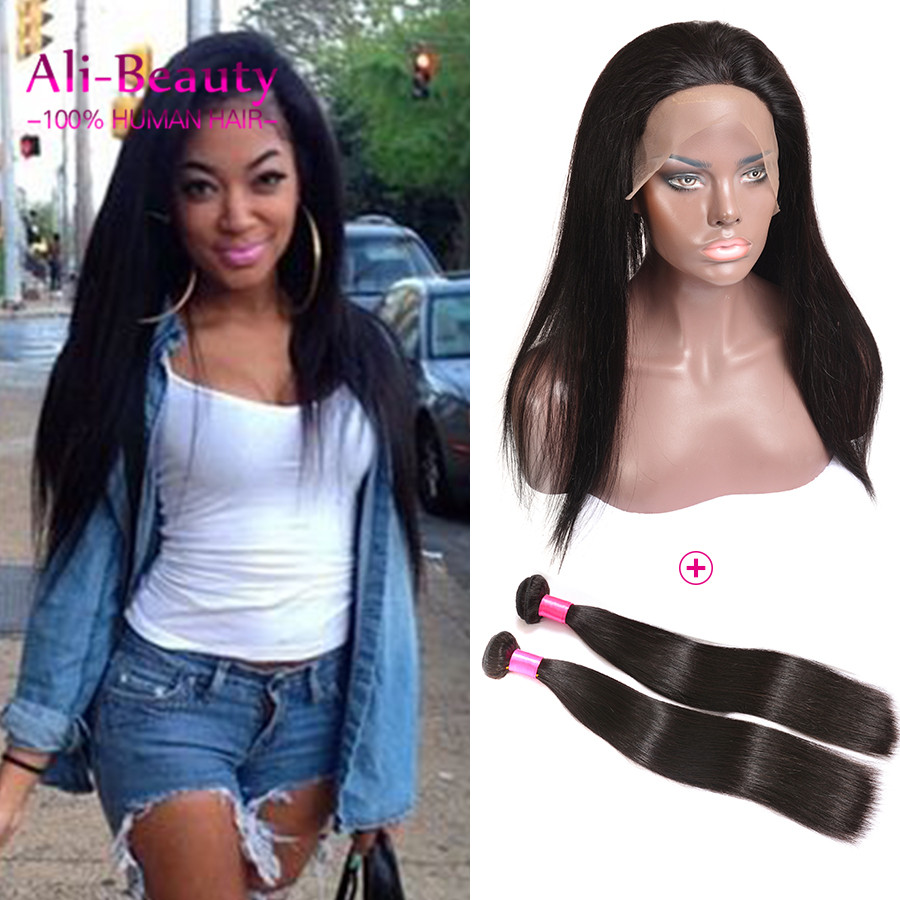 360 Lace Frontal With 2 Bundle Indian Hair Weave Bundles With Closure 100g Straight 360 Lace Frontal Closure With Bundles 8a<br><br>Aliexpress