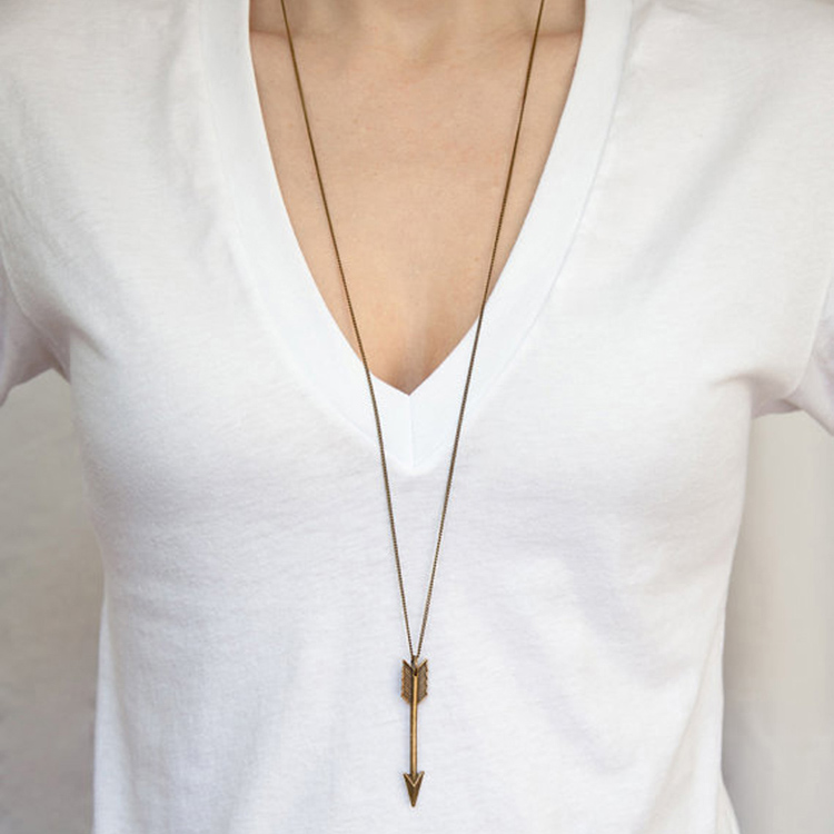 New Summer Jewelry Fashion Charm Gold / Silver plated Long Arrow  Pendant necklace For Women Gift