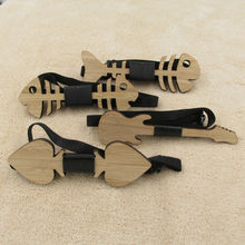 Fishbone Guitar Heart Wooden Bow Tie For Men Classic Bowties Neckwear Handmade Butterfly(China)