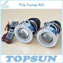 Universal Fit HID Fog Lamp Projector Lens glass Lens with Cover and CCFL Angel eyes, Using Xenon H3 Bulb(China)