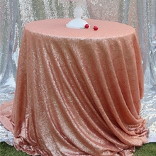 Blush Sequin Tablecloth Wholesale 120 Inches Round Sequin Table Linens for Wedding Table Decoration
