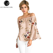 Lily Rosie Girl Boho Style Floral Flare Long Sleeve Women Blouse Slash Neck Sexy Tops Off Shoulder Khaki Spring Shirt Blusas