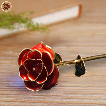 WR Festival Souvenir Gifts 24k Gold Plated Red Rose Quality Gold Dipped Real Rose Flower with Gift Box for Wedding Decor 28X7cm