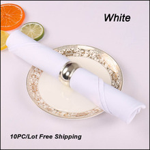 "10PC/Lot 20""X20"" High Quality Western Dinner White Polyester Plain Napkin Hotel Folding Table Cover Napkins Home Cloth Napkins(China)"
