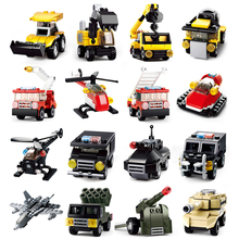 SLUBAN City Series Engineering vehicles Fire truck Construction mini Educational Building Blocks Toys Compatible With(China)