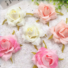 5 PCS/(7 cm) artificial silk gold rose flower heads home decoration/DIY wedding garland collage decorative artificial flowers(China)