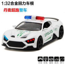 Collectible Alloy Diecast White Car Model 1/32 Elemento Police  Galibier w/light&sound Pull Back Cars Model Kids Toys Gifts