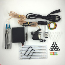 Permanent Makup Tools Starter Tattoo Kits 1 Coil Tattoo Machine Gun Power Supply Needles Grips Tips Footswitch For Body Art