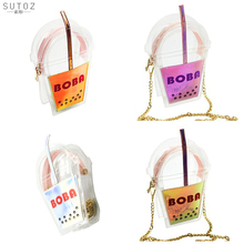 Flap messenger chain bag pocket purse bolsos phone pouch party shoulder handbag letter bottle shape transparent acrylic SUTOZ