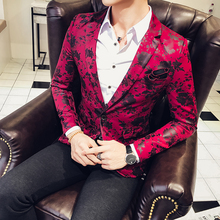2017 Red Blazers Mens Party Dress Flowers Blazers Mens Printed DJ Stage Costume Royal Blue Korea Anzug Men Bleiser Hombre Casual