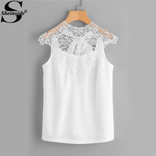 Sheinside Lace Chiffon Blouse White Hollow Out Bow Tie Open Back Women Tops 2017 Ladies Elegant Cap Sleeve Blouse(China)