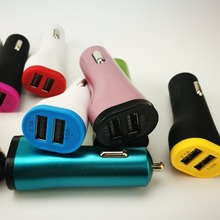 Small pretty waist Dual USB Car Charger Portable Adapter 5V/2.1A for iphone for Samsung Cell Phone Tablet PC GPS PDA 100 pcs/lot
