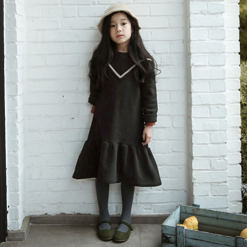 Girls Clothes Winter Autumn Maxi Long Princess Dress Girl Black Fleece Ruffles Girl Dress Children Clothing 3 4 6 8 10 12 14 Y<br><br>Aliexpress