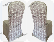 Wedding Decoration White Lycra/Spandex Chair Cover  With FLower Design On The Backside China Chair Covers